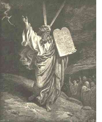 Moses and the 10 Commandments on stone tablets.